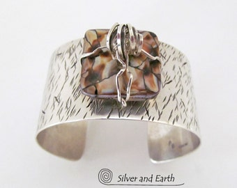 Sterling Silver Cuff Bracelet, Wide Silver Cuff, Artisan Metalsmith Jewelry, One of a Kind Jewelry, Metal Cuff Bracelet, Sterling Jewelry
