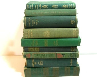 Green Books, Instant Library, Vintage Book Collection, Home Decor Assortment, Decorator Books