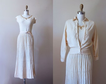 1940s Dress - Vintage 40s Dress - Exquisite Knit Wool Ivory Gold Beaded Belted Dress and Sweater - Swan Shadow Dress Set