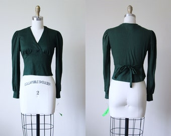 Vintage Bad Girl Knit Ballet Top - Pine Green Cotton Knit Surplice Bust Shelf Puff Blouse S M - Tiny Dancer Shirt