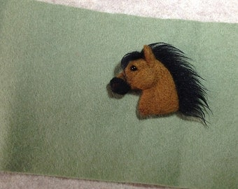 Needle felted horse pin brooch