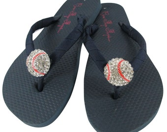 Baseball Mom flip flops with Bling- choose your team colors