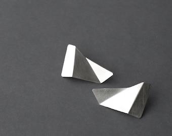 Sterling Silver Earrings, Geometric Silver Earrings, Triangle Silver earrings, Minimalist Silver Earrings, Statement Silver Earrings