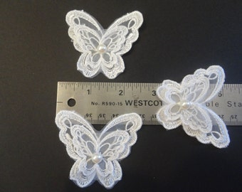 3 Pearl lace Butterfly appliques