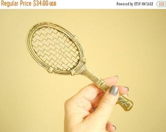 Brass tennis racquet, vintage brass paperweight, executive stocking stuffer, coworker gift, tennis enthusiast, tennis pro, sports lover