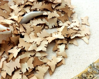 500 Butterfly Confetti Heart Leaf Table Sprinkles Rustic Tea Stained Wedding Bridal Shower Paper Confetti Table Scatter Tiny Paper Punches