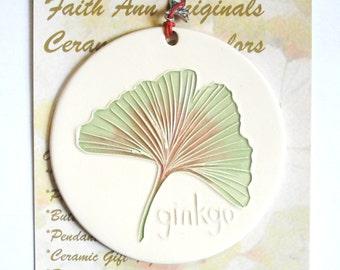 GINKGO LEAF ORNAMENT handmade ceramic ancient longevity symbol tree leaves garden art lover  great hostess visitor collector gift under 25