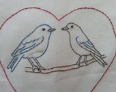 Bluebirds in Love tea towel-hand stitched