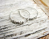 Silver Nugget Earrings, Sterling Silver Hoop Earrings, Boho Earrings, Minimalist Jewelry, Silver Earrings