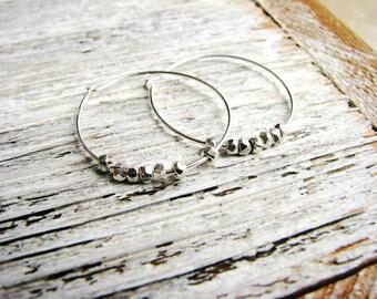 Silver Nugget Earrings, Sterling Silver Hoop Earrings, Boho Earrings, Minimalist Jewelry, Silver Earrings