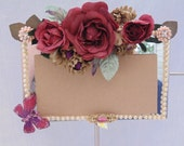 Bejeweled Countertop Mirror Jewelry Floral Accents