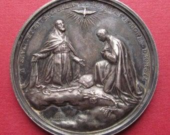 Canonization of Saints Alexander Sauli And Gerard Majella Pope Pius X Silver Vatican Issued Religious Medal 1905