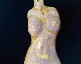 Gold Grey Periwinkle Crystalline Glazed Porcelain Goddess Torso Pendant
