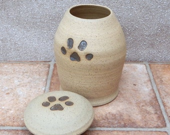 Pet urn cremation ashes dog or cat hand thrown jar in stoneware pottery ceramic