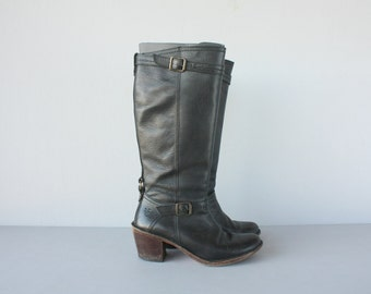 Vintage Frye Boots | Vintage Motorcycle Boots | Womens Black Leather Boots | Knee High Boots