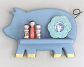 Pig Wall Shelf - Modern Baby Decor - Grey Chalk Painted Pig Wall Shelf - Rustic cottage Decor - Rustic Kitchen Shelf