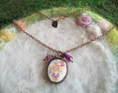Broken China Necklace with Handmade Bezel and Copper Chain, Vintage Daffodil Bouquet