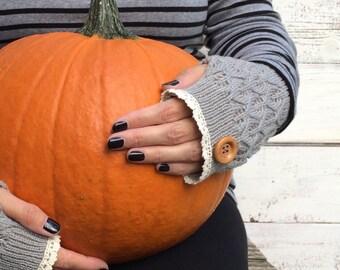 Fingerless Gloves, Knit Fingerless Gloves, Grey Fingerless Gloves, Half Finger Gloves, Winter Gloves, Mittens, Lace Gloves,Cell Phone Gloves