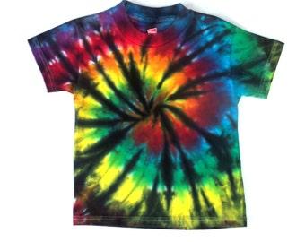Toddler Boy's Tie-dye T-shirt, Size 4T, rainbow & black