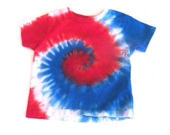 Toddler Tie-dye T-shirt, Size 2T, red, white and blue