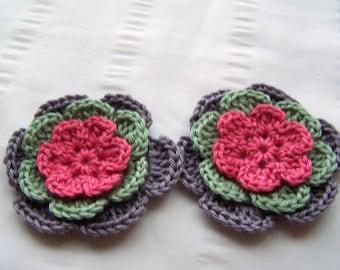 Flower crochet motif 2.5 inch cotton pink green lavender