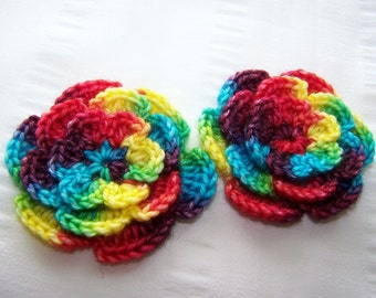 Appliques hand crochet flowers set of 2 unicorne toot rainbow 2 inch