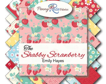 """Shabby Strawberry 20 10"""" Squares Bundle for Penny Rose fabrics 100% cotton fabric for quilting"""