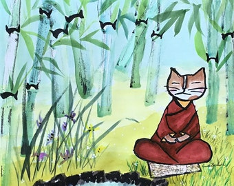 Original cat art Meditating Cat