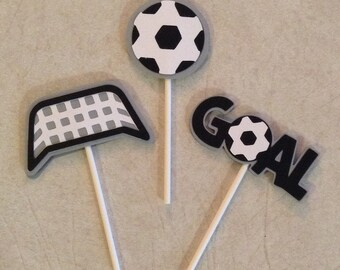 Soccer Cupake Toppers - Birthday Decorations, Party Supplies