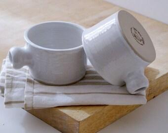 Seconds Sale - Set of two wide stoneware soup mugs in brilliant white