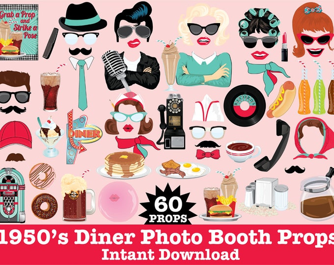 1950s Photo Booth Props, Grease Party, Fifties Party, Rock n Roll Party, Sock Hop, Diner -  Instant Download PDF - 60 DIY Printable Props