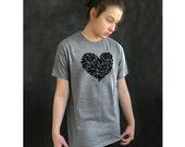 Heart tshirt . Women's heart tee . unisex sizing