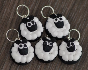 Hand made Polymer Clay Sheep Stitch Markers for Knitting - Set of 5