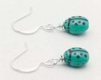 Blue Ladybug Earrings, Silver Plated, Ladybug Earrings, Small