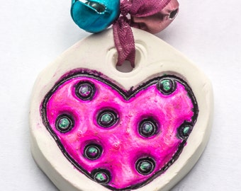Sale / On Sale / Clearance / Marked Down / Pink Heart and Blue Polka Dots Handmade Polymer Clay Heart Ornament - OR00040