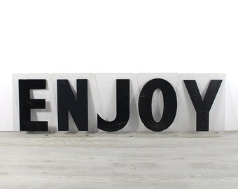 ENJOY - Vintage Acrylic Marquee - 8 Inch Clear Plastic Letters