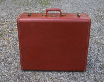 Vintage Shwayder Bros. Samsonite Chestnut Brown Suitcase with Hangers