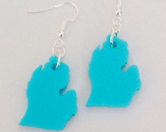 Michigan Earrings, State Jewelry, Lower Peninsula of Michigan, Lasercut Earrings, Turquoise Blue Acrylic Plastic