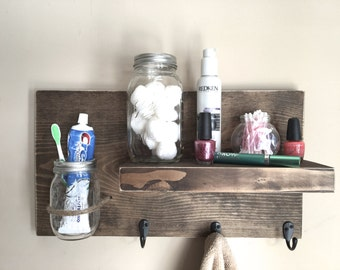 rustic shelf,  bathroom shelf, towel rack, shelf with hooks, toothbrush holder, reclaimed wood, farmhouse decor. bathroom storage, shelf