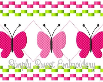 Butterfly Faux Smocking Machine Embroidery Design