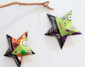 Halloween Ornament, Frankenstein, Witch, Recycled Soda Cans, Grapestein Grape Soda, Bubbling Cauldron Orange Soda, Black Green Orange