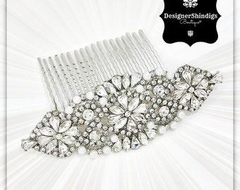 Silver Crystal Rhinestone Bridal Hair Comb