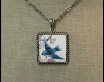 Broken China Jewelry, Handcrafted Bluebird, Ornate Square Pendant Necklace