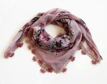 Soft Muslin Scarf, Turban Scarf, Misty Pink Burgundy, Tatting Lace Trim, Boho Authentic Scarf, Cheesecloth, Bandana, OOAK