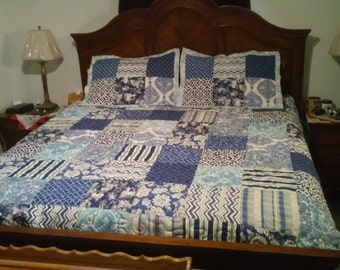 Handmade quilted bedspread or quilt