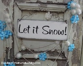 Aqua Turquoise Let It Snow wood SiGN Wall Hanging, Shabby Retro Modern Christmas Winter Decor, 3 Day Ship