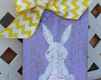 Rabbit Bunny Butt Wood Sign / Lavender purple Yellow / Old Barn Wood Sign / Shabby Chic Easter Spring Decor / VOLUME DISCOUNT  / 3 Day Ship