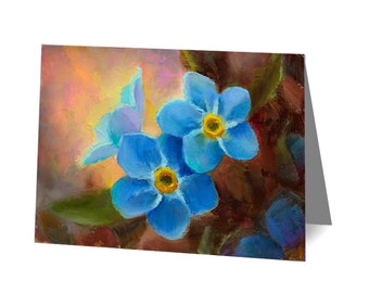 Forget Me Not Art Card - Alaska State Flower - Blank Notecard With Envelope