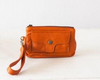 Wristlet wallet in orange leather, phone wallet clutch zipper wallet phone case womens leather wallet - Thalia Wallet