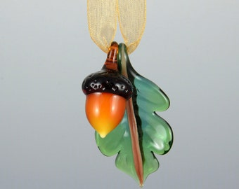 Art Glass Acorn and Oak Leaf Ornament